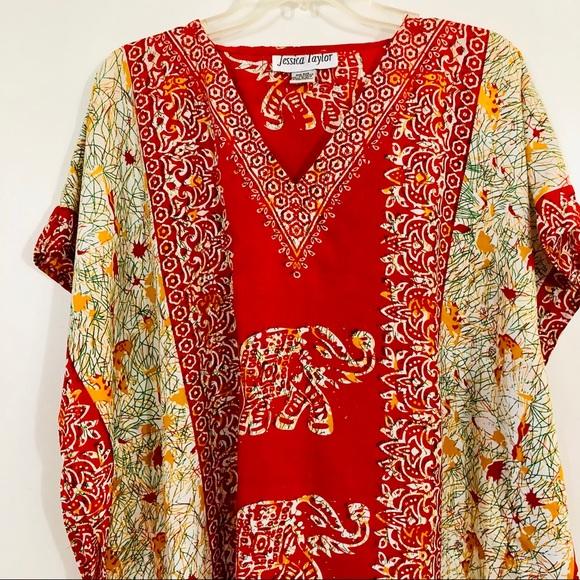 Jessica Taylor Women Plus One Free Size Tunic Caftan Floral Orange White Dress